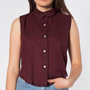 American Apparel cropped sleeveless button up